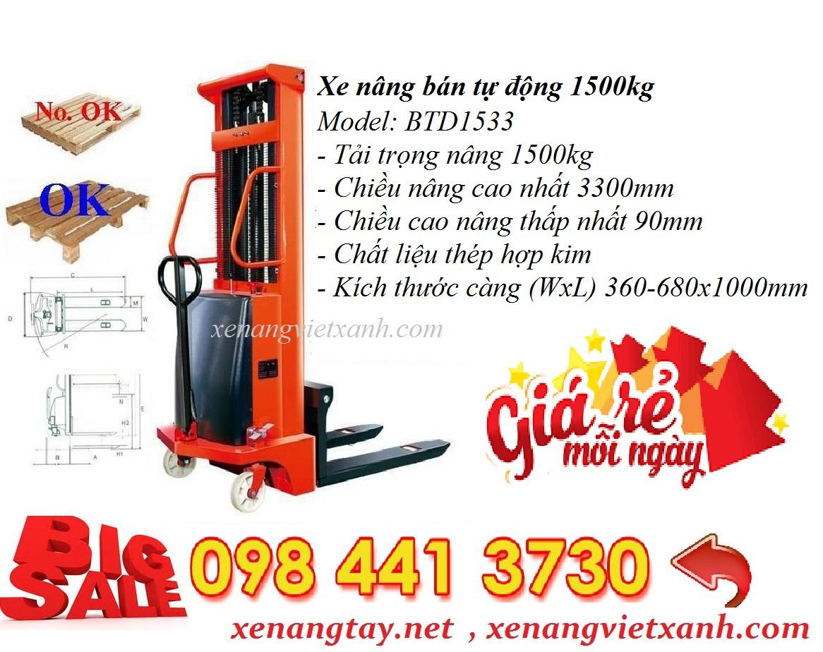 www.kenhraovat.com: Xe nâng bán tự động 1500kg nâng cao 3m3 khuyến mãi