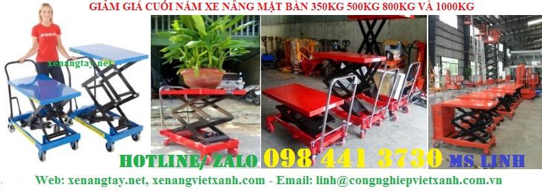 /></h5> <h5>Xe nâng mặt bàn 1000kg<br />- Model: TA100<br />- Tải trọng 1000kg<br />- Màu sắc Xanh dương<br />- Chiều cao nâng thấp nhất 445mm<br />- Chiều cao nâng cao nhất 950mm<br />- Kích thước bàn 520x1010mm<br />- Chất liệu chính Thép hợp kim<br />- Tự trọng xe 137kg<br />- Nhà cung cấp Việt Xanh , Nhập khẩu hiệu Gamlifft-Mỹ<br />- Bảo hành 12 tháng ben thủy lực nâng theo tiêu chuẩn nhà sản xuất.<br /><a rel=