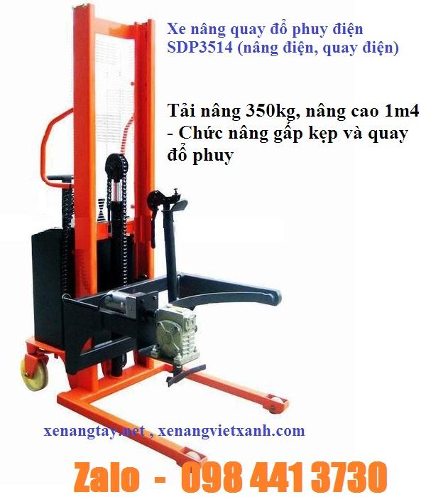 www.kenhraovat.com: Xe nâng quay đổ phuy điện ( Nâng hạ bằng hệ thống điện