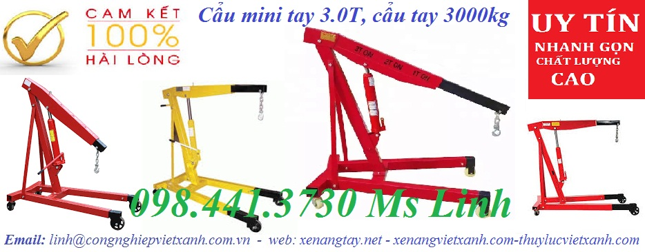 /></h4> <h4>Cẩu tay động cơ 3000kg</h4> <h4>Tải trọng nâng: 3000kg<br />Chiều cao lớn nhất: 1450mm<br />Chiều lài lớn nhất: 2200mm<br />Trọng lượng: 113kg<br />Kích thước:1315x820x120mm<br />Kích thước đóng gói:1395x315x160mm<br />+ Thiết kế nhỏ gọn, sau khi sử dụng có thể gấp được<br />+ Khung giá vững chắc<br />+ Cơ cấu thủy lực bền bỉ, chắc chắn<br /><img src=