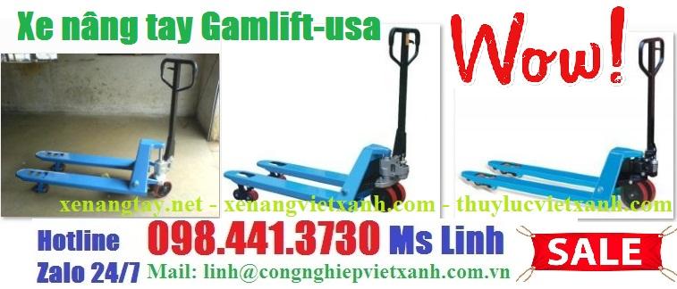 /></h4> <h4>Xe nâng tay 2500kg Gamlift-Mỹ</h4> <h4>Model:M25D</h4> <h4>- Tải trọng nâng : 2500kg</h4> <h4>- Chiều cao nâng thấp nhất: 85mm</h4> <h4>- Chiều cao nâng cao nhất: 200mm</h4> <h4>- Kích thước càng(rộng x dài): 685x1220mm càng rộng</h4> <h4>- Sử dụng bánh xe PU lỗi thép, hoặc bánh Nylon trắng</h4> <h4>- Xuất xứ hàng nhập khẩu, thương hiệu Gamlift-Mỹ</h4> <h4>- Bảo hành 12 tháng theo tiêu chuẩn nhà sản xuất</h4> <h4><a rel=